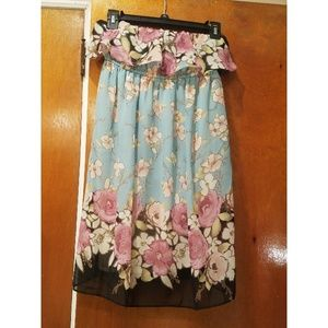 Strapless Mint Floral Roses Dress Small